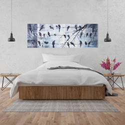 Canvas 20 x 60 - Abstract birds on electric wire