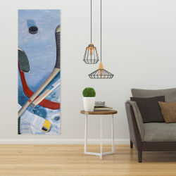 Canvas 20 x 60 - Hockey sticks on ice