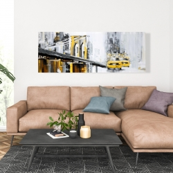 Canvas 20 x 60 - Yellow brooklyn bridge with taxis