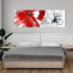 Canvas 20 x 60 - Red & gray flowers