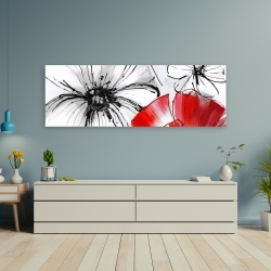 Canvas 20 x 60 - Red & white flowers sketch