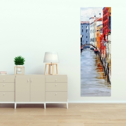 Canvas 20 x 60 - Colorful and texturized city on the water