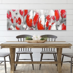 Canvas 20 x 60 - Abstract red tulips