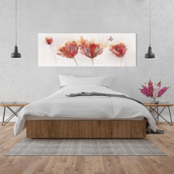 Canvas 20 x 60 - Crimson flowers and butterfly