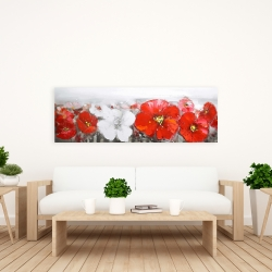 Canvas 20 x 60 - Gray field with red flowers