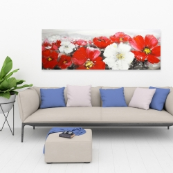 Canvas 20 x 60 - Red and white flowers field