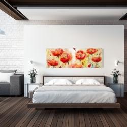 Canvas 20 x 60 - Red flowers garden