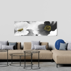 Canvas 20 x 60 - Black and white flowers