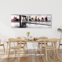 Canvas 20 x 60 - Abstract bridge cityscape