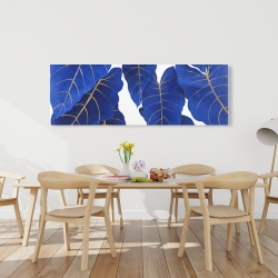 Canvas 20 x 60 - Tropical abstract blue leaves