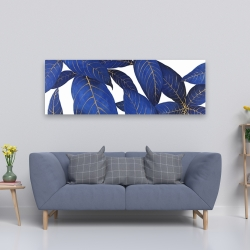Canvas 20 x 60 - Abstract modern blue leaves