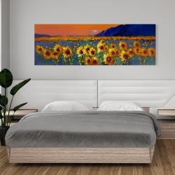 Canvas 20 x 60 - Field of sunflowers