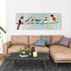 Canvas 20 x 60 - Small abstract colorful birds