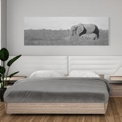 Canvas 20 x 60 - Elephants in the savannah