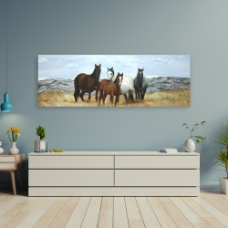 Canvas 20 x 60 - Horses in the meadow by the sun