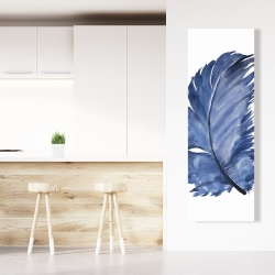 Canvas 20 x 60 - Watercolor blue feather