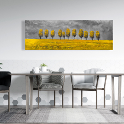 Canvas 20 x 60 - Yellow trees in a field
