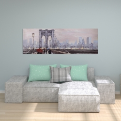 Canvas 20 x 60 - Brooklyn bridge with passersby