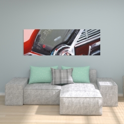 Canvas 20 x 60 - Vintage red car dashboard