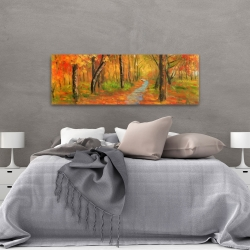 Canvas 20 x 60 - Autumn trail in the forest