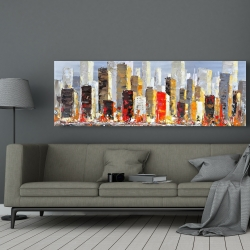 Canvas 20 x 60 - Colorful buildings with water reflection