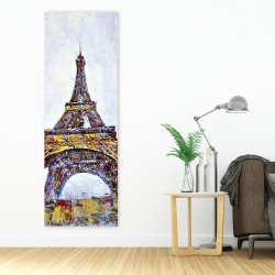 Canvas 20 x 60 - Abstract paint splash eiffel tower