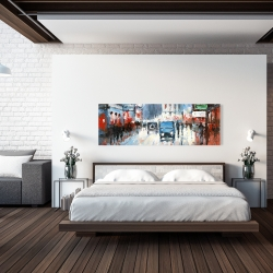 Canvas 20 x 60 - Abstract red and blue city