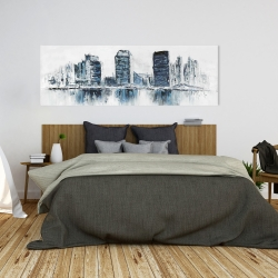 Canvas 20 x 60 - Texturized blue colors cityscape