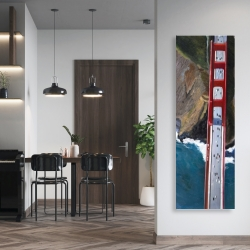 Canvas 20 x 60 - Overhead view of the golden gate and mountains
