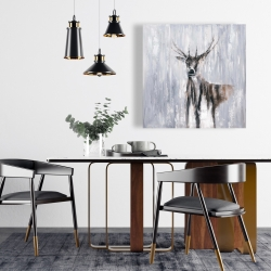 Canvas 24 x 24 - Winter abstract deer