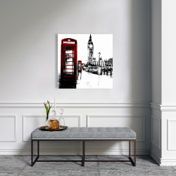 Canvas 24 x 24 - Telephone box and big ben of london