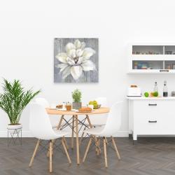 Canvas 24 x 24 - White flower on wood