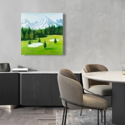 Canvas 24 x 24 - Golf course with mountains view