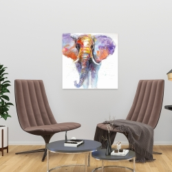 Canvas 24 x 24 - Colorful walking elephant