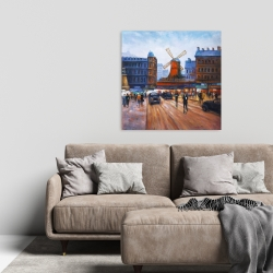 Canvas 24 x 24 - Street scene to moulin rouge