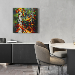 Canvas 24 x 24 - Colorful dotted leaves birches