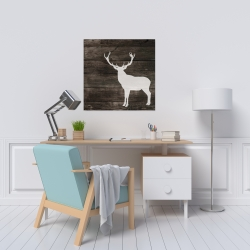 Canvas 24 x 24 - Deer silhouette on wood