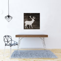 Canvas 24 x 24 - Deer on wood background
