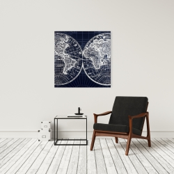 Canvas 24 x 24 - World map blue print