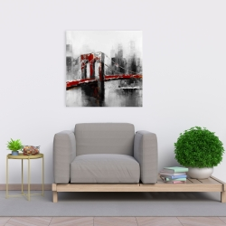 Canvas 24 x 24 - Abstract and red brooklyn bridge