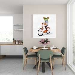 Canvas 24 x 24 - Funny frog riding a bike
