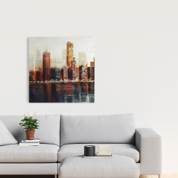 Canvas 24 x 24 - Abstract red cityscape