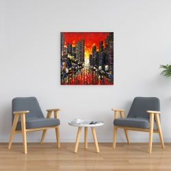 Canvas 24 x 24 - Abstract sunset on the city