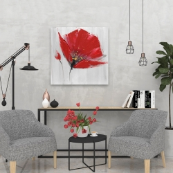 Canvas 24 x 24 - Two red flowers on gray background
