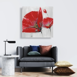 Canvas 24 x 24 - Three red flowers on gray background