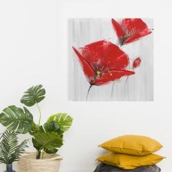 Toile 24 x 24 - Trois fleurs rouges à centre doré