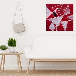 Canvas 24 x 24 - White triangles on red background