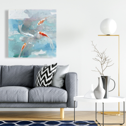 Canvas 24 x 24 - Koi fish in blue water