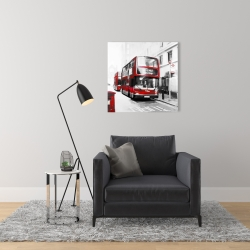 Canvas 24 x 24 - Red bus in a gray street