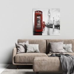 Canvas 24 x 24 - Red phonebooth with the big ben